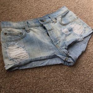 Carmar Distressed Light Wash Short Shorts